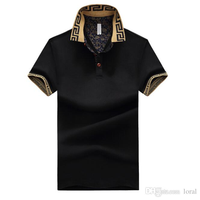 Erkek Lüks Tasarımcı Gömlek Erkek Yaz Turn Down Yaka Kısa Kollu Pamuk Gömlek Erkekler Rasgele Tops
