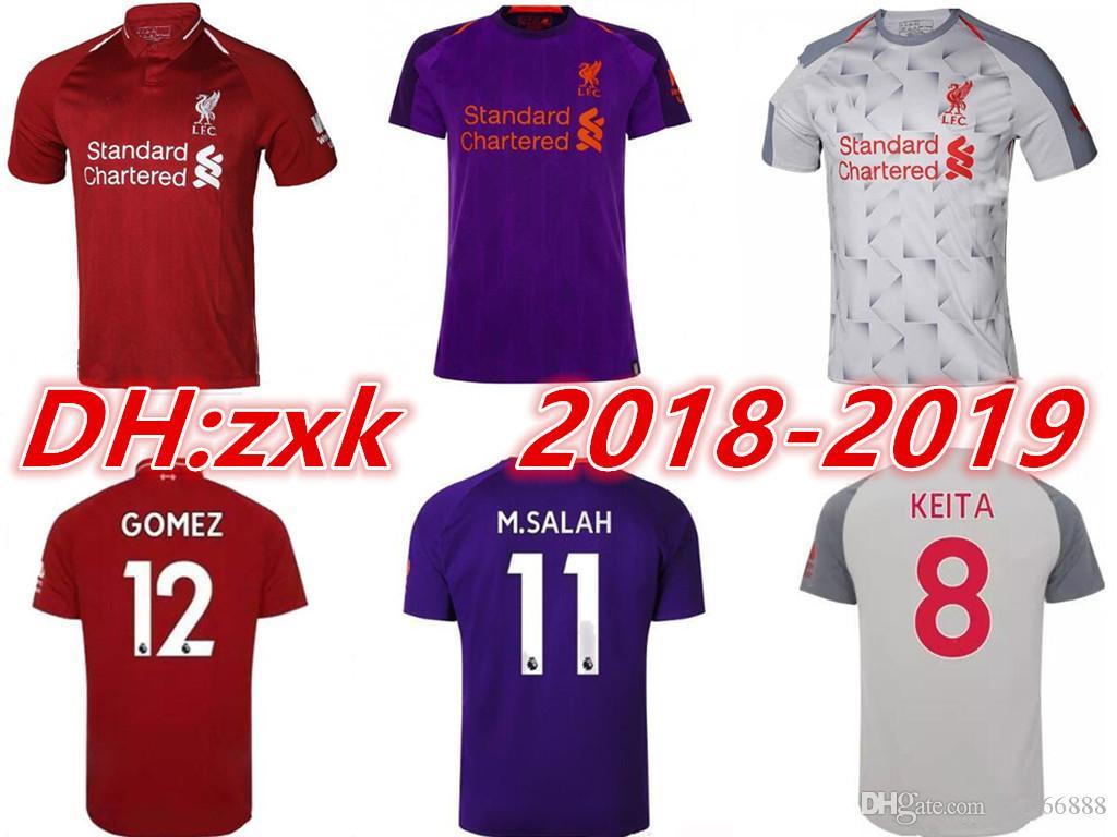 Compre 2018 2019 Liverpoolsg Camisas De Futebol 18 19 GERRARD MANE FIRMINO  HENDERSON STURRIDGE LALLANA M SALAH Casa Camisa De Futebol De Rui666888 e5cf2ce41e232