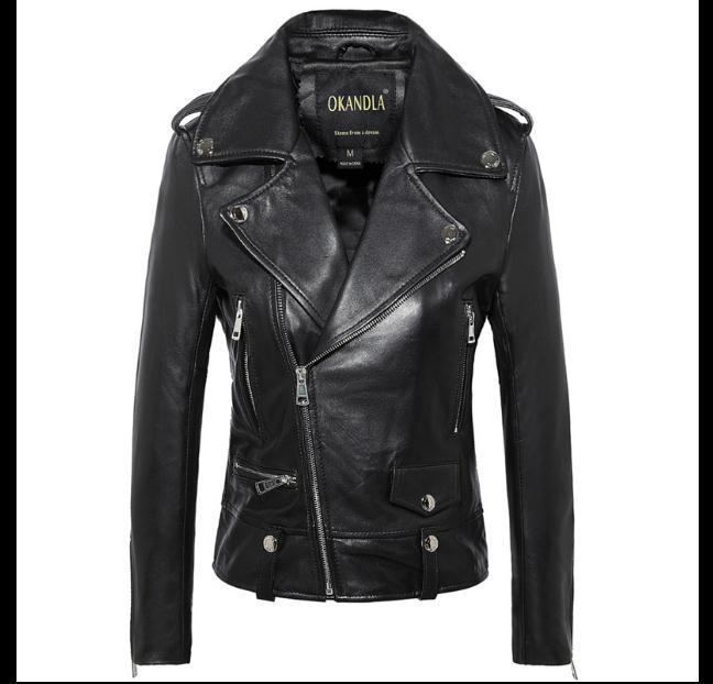 Freies Verschiffen Mode 100% Echtem Leder Frauen Dünne Kurze Jacken Motorbiker Asiatische Größe Weibliche Schaffell Jacke Marke Wildleder