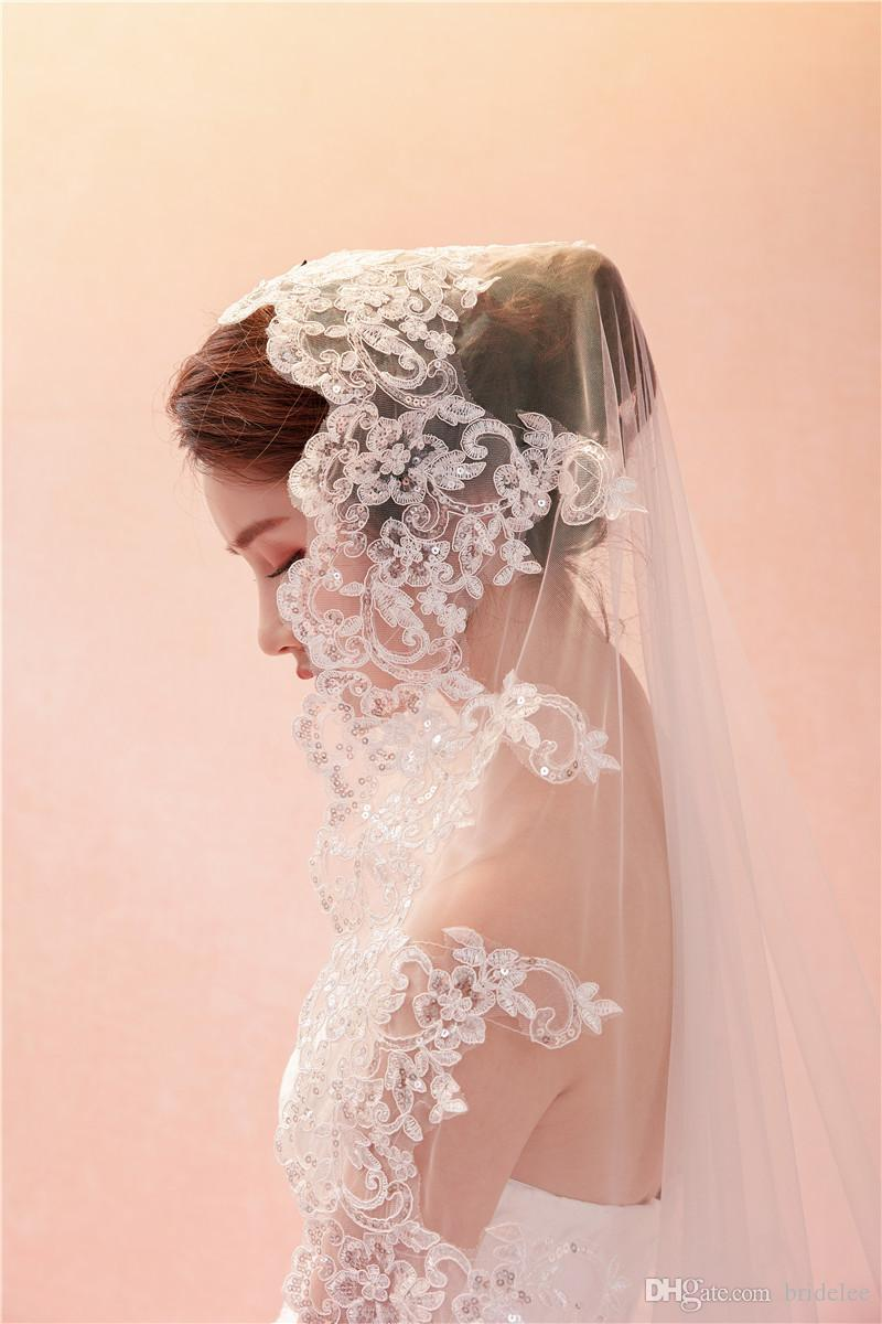 2019 velos de novia 3 metros de lentejuelas de marfil blanco Blings Sparkling Lace Edge Purfle Long Cathedral Wedding Veils