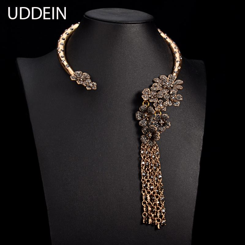 whole saleUDDEIN New jewelry T stage catwalk statement necklace Torques Multi layer crystal flower gem alloy tassel necklace & pendant