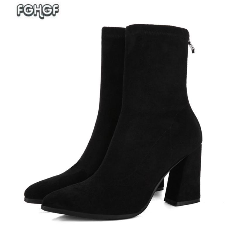 406daa99443 Women High Heel Boots Female Black Thick Heel Ankle Boots Women Footwear  Lolita Shoes Woman Autumn Party Pumps Botas Mujer Chelsea Boots Shoes  Online From ...