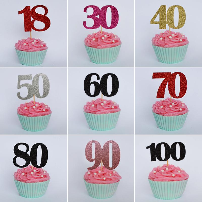 Number Decorated Cupcake Toppers Happy Birthday Party Cake Decoration Supplies Wedding Cake Topper Bachelorette Party Favors