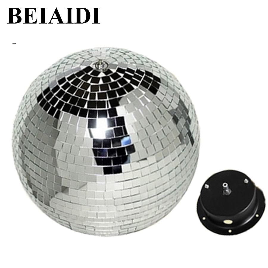 Beiaidi D15cm 20cm 25cm 30cm Reflective Glass Rotating Mirror Ball With Ac Motor For Disco Dj Reflection Light Professional Stage Lighting