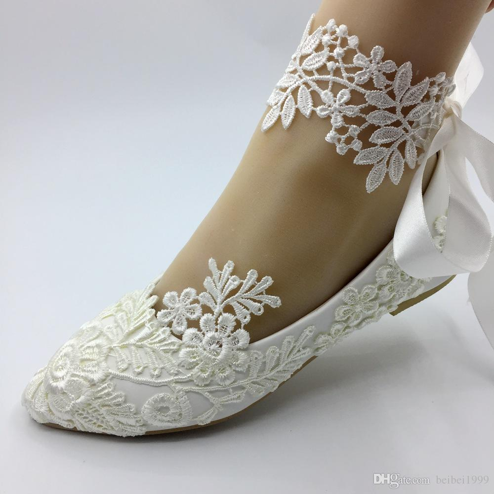 Handmade White Lace Wedding FLAT Shoes Women Flat Bride