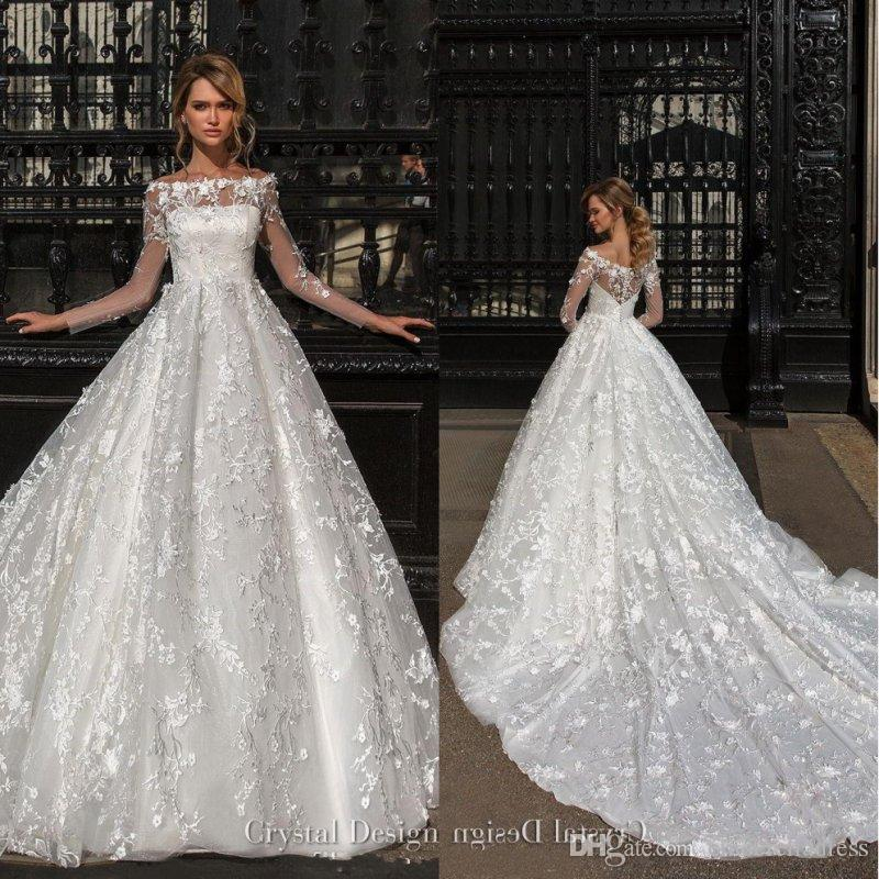 30 Exquisite Elegant Long Sleeved Wedding Dresses Chic: Beautiful Designer Long Sleeves Wedding Dresses 2018 Off