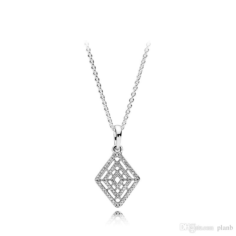 9aebf2db6fdf2 Original 925 Sterling Silver Geometric Pendant Necklaces Chain Fit Pandora  Charms Crystal Diamond Necklace Jewelry with Box