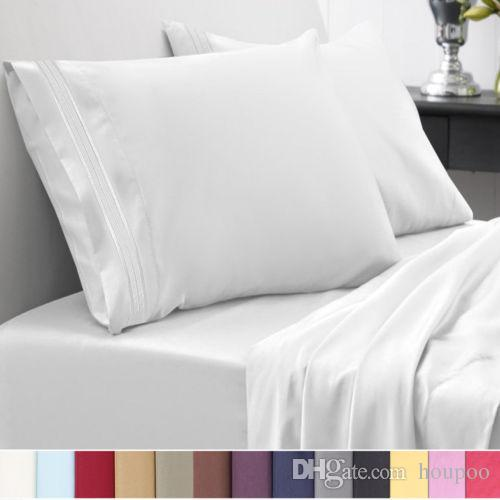 12 Colors Egyptian 1800 Count Twin~Califonia King Size Bedding Sets Deep Pocket Bed Sheets Queen Bedding Sets King Size Comforter Set
