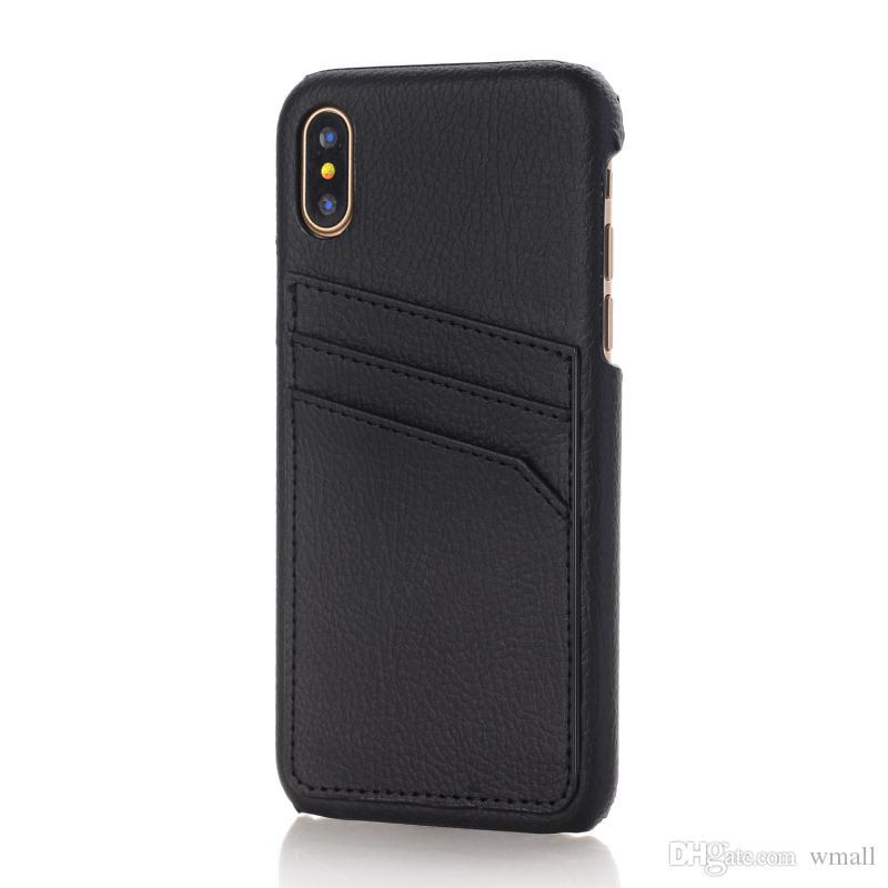 Custodia cellulare di lusso iphone X 6S 7 8 plus cover posteriore rigida in pelle cellulare in pelle TPU con supporto slot carte di credito
