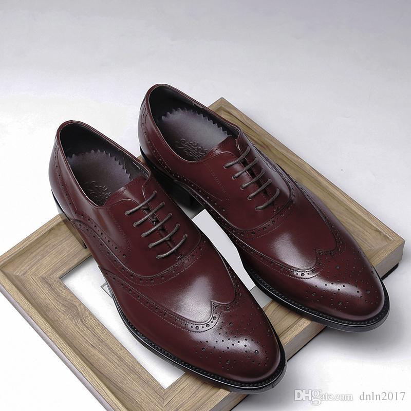 Scarpe di da lacci di pelle vera lusso rosso design in eleganti uomo con  rrwqx1FR 675fe60c271