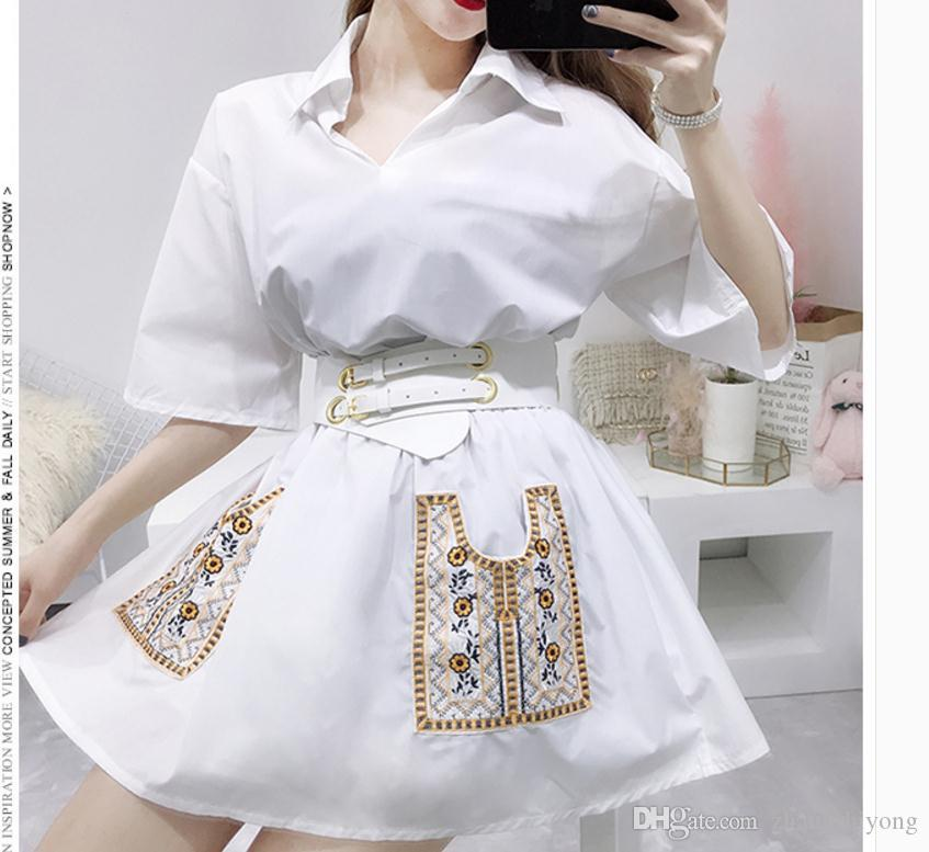 Free send Doll dress summer embroidered pocket Collect the waist thick and disorderly dress female umbrella dress