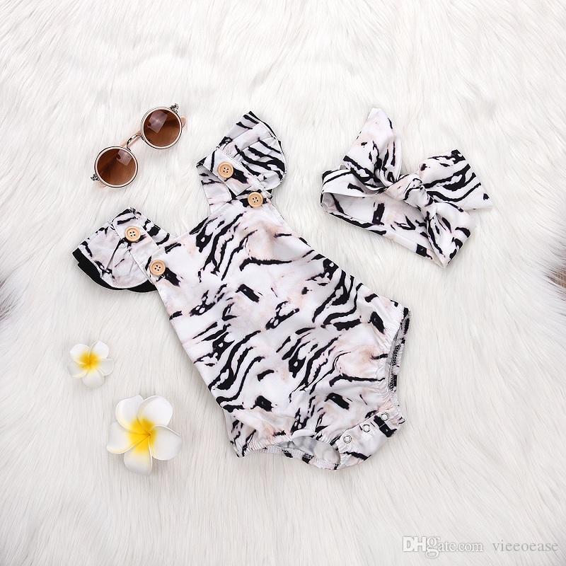Vieoeoase Kleinkind Mädchen Strampler INS Leopard Babykleidung 2018 Sommer Nette Fly Sleeve Print Strampler mit Stirnband EE-448