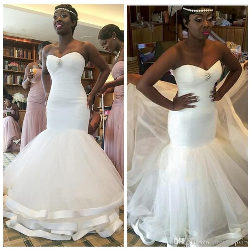 2019 African Simple Mermaid Wedding Dress Sweetheart Wedding Bridal Gowns Black Girl Wedding Party Dresses Custom Made
