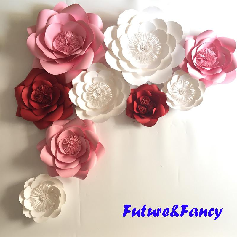 004e43e61108 2019 Set Mix Giant Paper Flowers For Wedding Backdrops Bridal Shower Baby  Shower Party Decor Flower Centerpiece Wrist Corsage From Diyunicornflowers