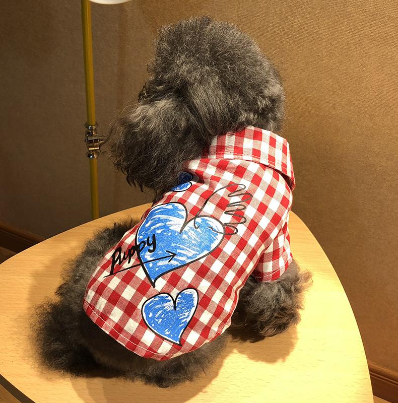 0ddb1ecbb484 2019 New Summer Plaid Love Dog Shirt Puppy Pet Cat Vest Clothes For Smal Pet  Xs S M L Xl From Mehome, $23.86 | DHgate.Com