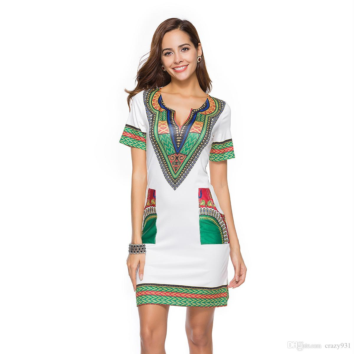 1f82c7b63a6 Bohemian Dress Girl V Neck Short Sleeve Pocket Mini Dresses Plus Size Casual  Beach Women Special Smooth Summer Fashion White Dresses For Party Long And  ...