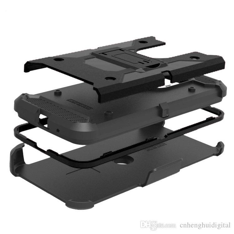 Heavy Duty Armure Dur Cas Pour LG Stylo 4 Motorola MOTO E5 jouer E5 plus téléphone cas + Ceinture Clip Holster Kickstand TPU + PC Antichoc