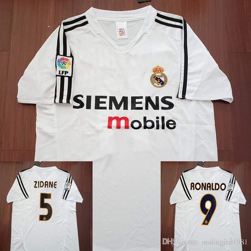 3dc278082 2019 04 05 Real Madrid Soccer Jersey R.Carlos Zidane Raul Ronaldo Figo Owen  Guti Beckham 2004 2005 Real Madrid Vintage Footbal Shirts Soccer Kits From  ...