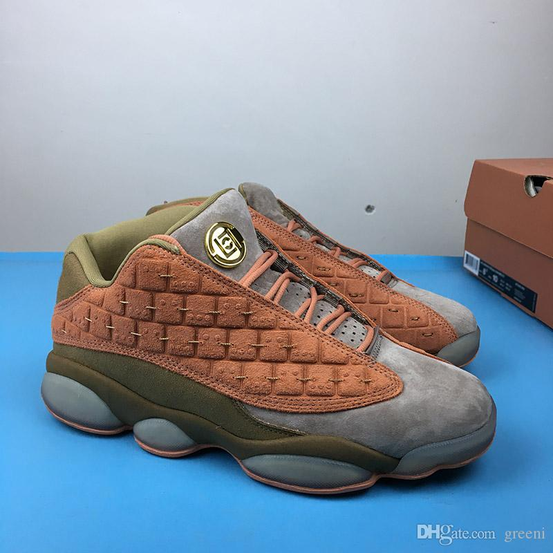 fae1932828ea98 2019 High Quality Clot X 13 Low Basketball Shoes 13s Terracotta Warriors  Designer Sneakers AT3102 200 Fashion Grey And Olive Suede Casual Shoes From  Greeni
