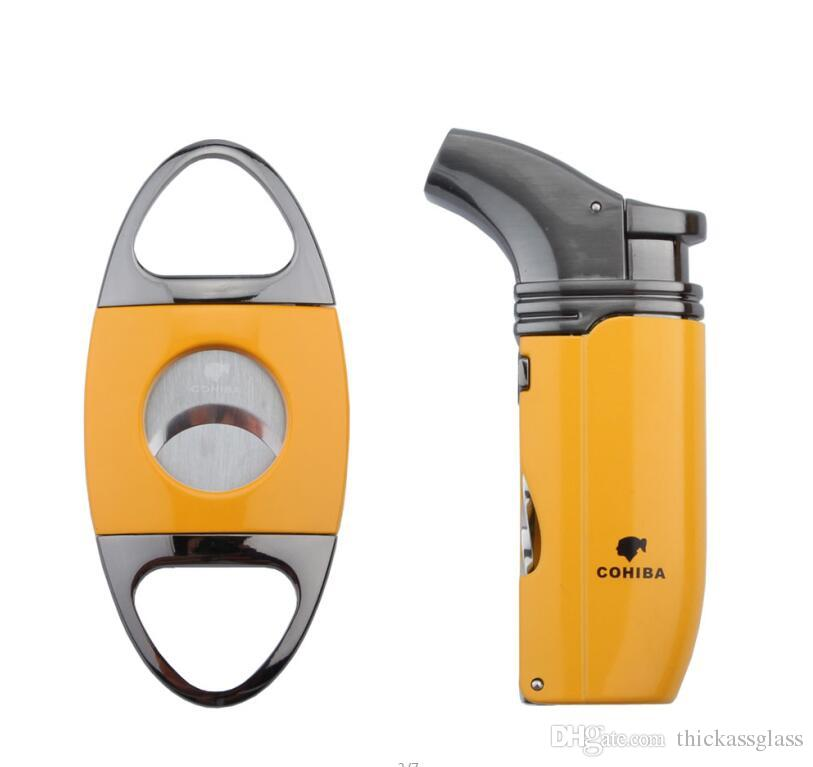 New arrival COHIBA high grade yellow cigar set with jet flame windproof torch lighter and stainless steel cigar cutter for christmas gift