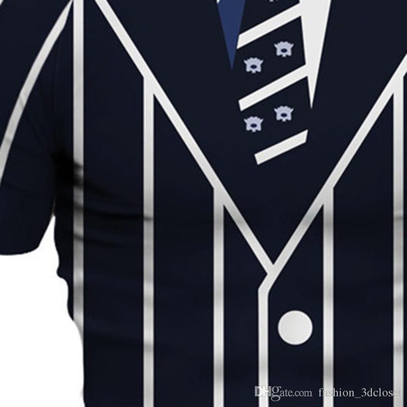 Fitness Gentleman Print t shirt Elegant Harajuku T Shirts Mens Hip Hop Striped Tees Funny Printed 3D Boys Tee Tops Clothing