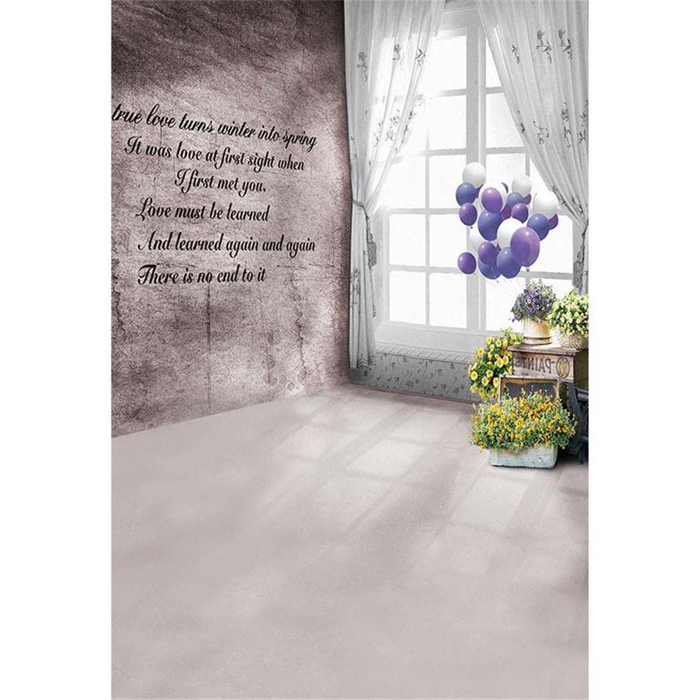 2018 Interior Room Window Photo Background Printed Curtain Purple