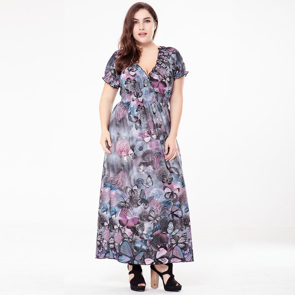 de7d53f7767b Plus Size Dresses For Women 4XL 5XL 6XL Bohemian Long Dress V Neck Short  Sleeve Butterfly Casual Beach Maxi Dress Blue/Grey/Red Green Dresses Cheap  Summer ...