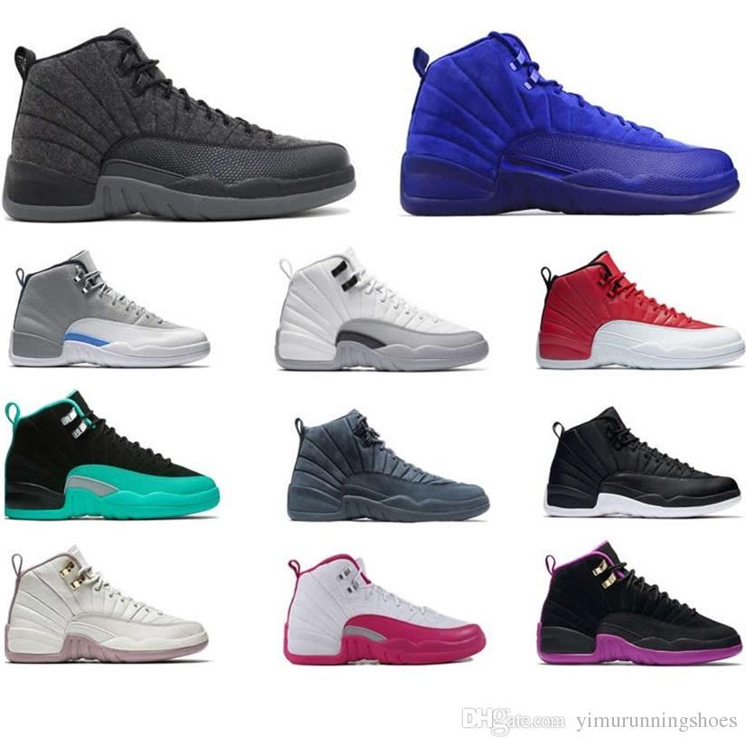hot sale online b3920 ca4bf Großhandel Nike Air Jordan Aj12 1 4 5 6 11 12 13 Hohe Qualität 12 12s Ovo  Weiß Gym Rot Dunkelgrau Basketball Schuhe Männer Frauen Taxi Blau Wildleder  Grippe ...