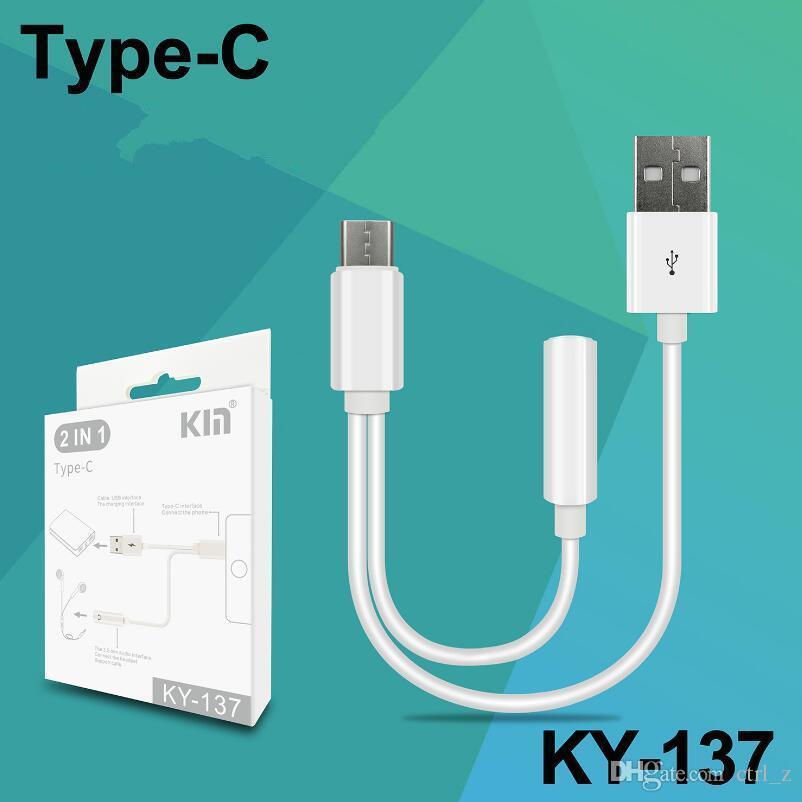 Type-C To Audio Port Adapter Cable 3.5mm Earphones Headphones to Type C Connector with Charging Cable 2 in 1 function