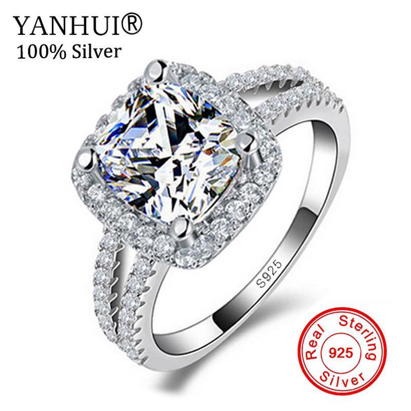 26a5bc13c061 Compre Gran Promoción !!! Joyería Fina 100% Real 925 Anillo De Plata  Esterlina 3 Quilates CZ Diamant Anillos De Compromiso Para Mujeres JZR066  D18111306 A ...