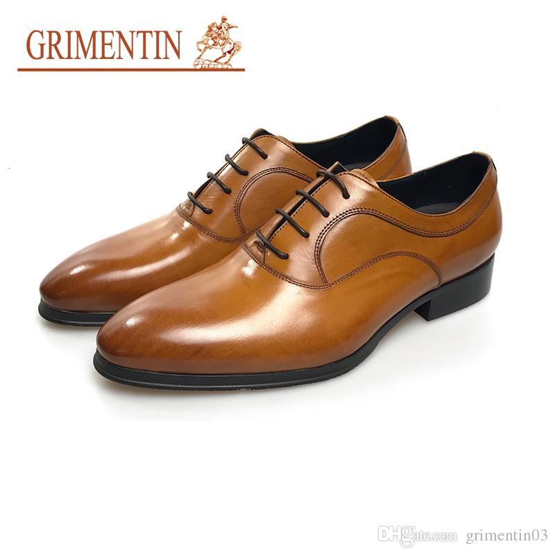 f14026ac133d Satın Al GRIMENTIN Sıcak Satış Hakiki Deri Ayakkabı İtalyan Moda Kahverengi  Oxford Ayakkabı Sivri Burun Dantel Up Iş Düğün Resmi Erkek Elbise Ayakkabı  S