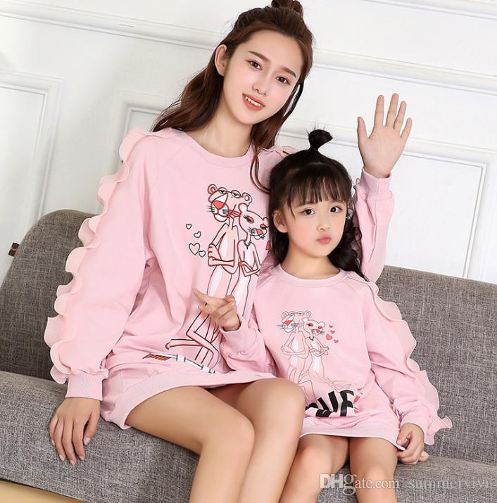 ecd08cd06e897 Mother And Daughter Sweatshirt Kids Love Heart Leopard Printed Long  Pullover Girls Round Collar Ruffle Long Sleeve Cartoon Jumper F0939 Mommy  And Me Clothes ...