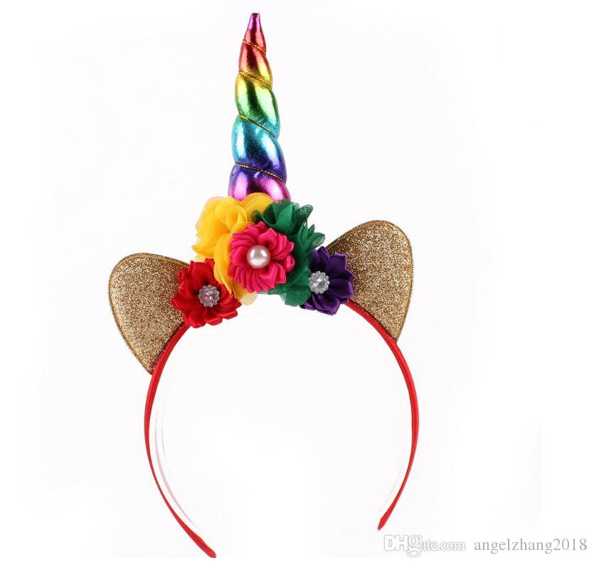 Hair Hoop Gold Horn Headdress Flower Animal Unicorn Party Stretch Stretch Headband Clips Felt Rose Accessories