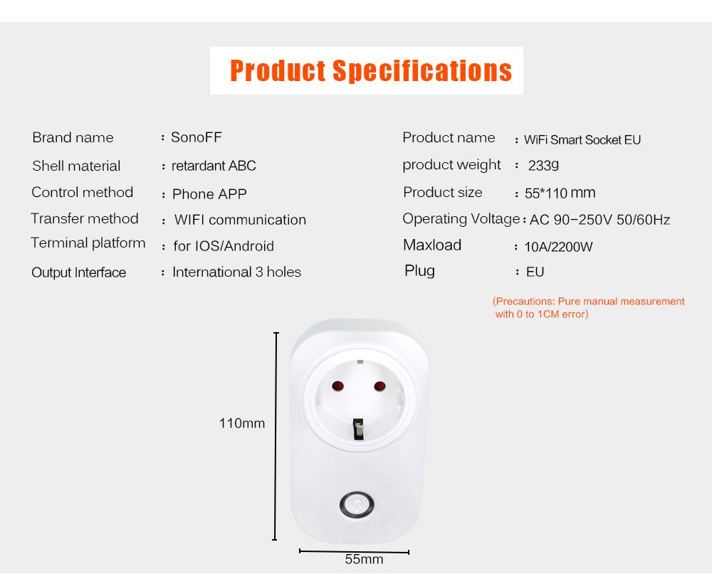 Sonoff S20 EU EE. UU. Enchufe Wifi Interruptor Socket de alimentación APLICACIÓN inalámbrica Interruptor remoto Interruptor de sincronización para el trabajo en el hogar inteligente con Alexa