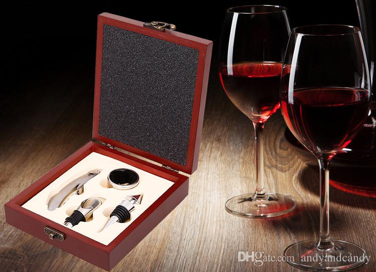 Custiom ren wine bottle Opener Wine Seahorse Knife Four Piece Set Opener wine stopper ring pourer Wooden Box Gift Box