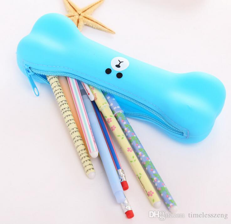 Escola bonito osso caneta saco de expressões de silicone criativo estudante lápis caixa de doces cor escritório papelaria presente cosméticos viagem maquiagem