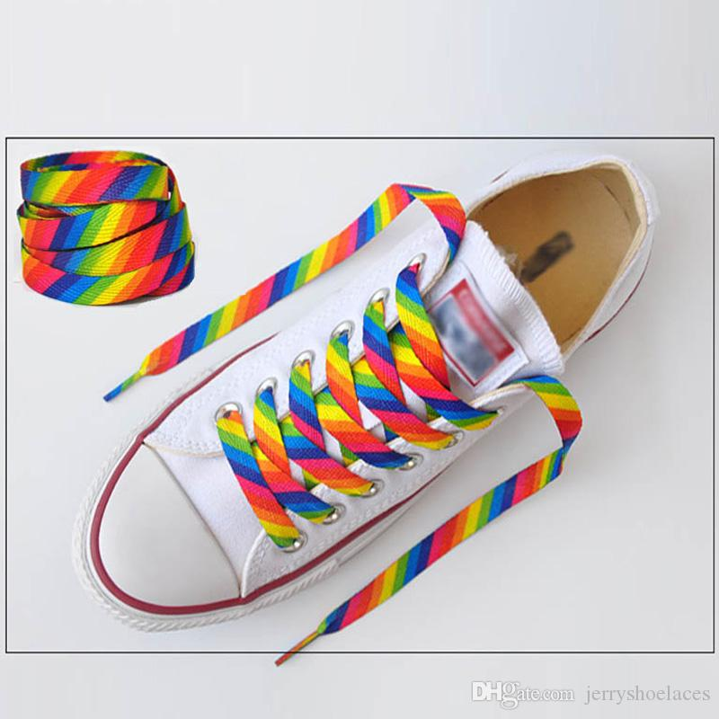 1 paar Neue Stil Regenbogen Bunte Flache Schnürsenkel Mode Shoestrings Für Freizeitschuhe Sneaker Erwachsene Kind