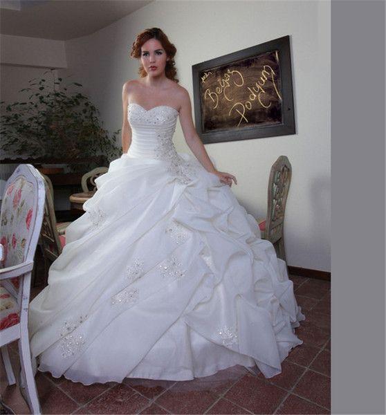 Strapless Diamond Dress Appliques Lace A Line Wedding Dress Princess