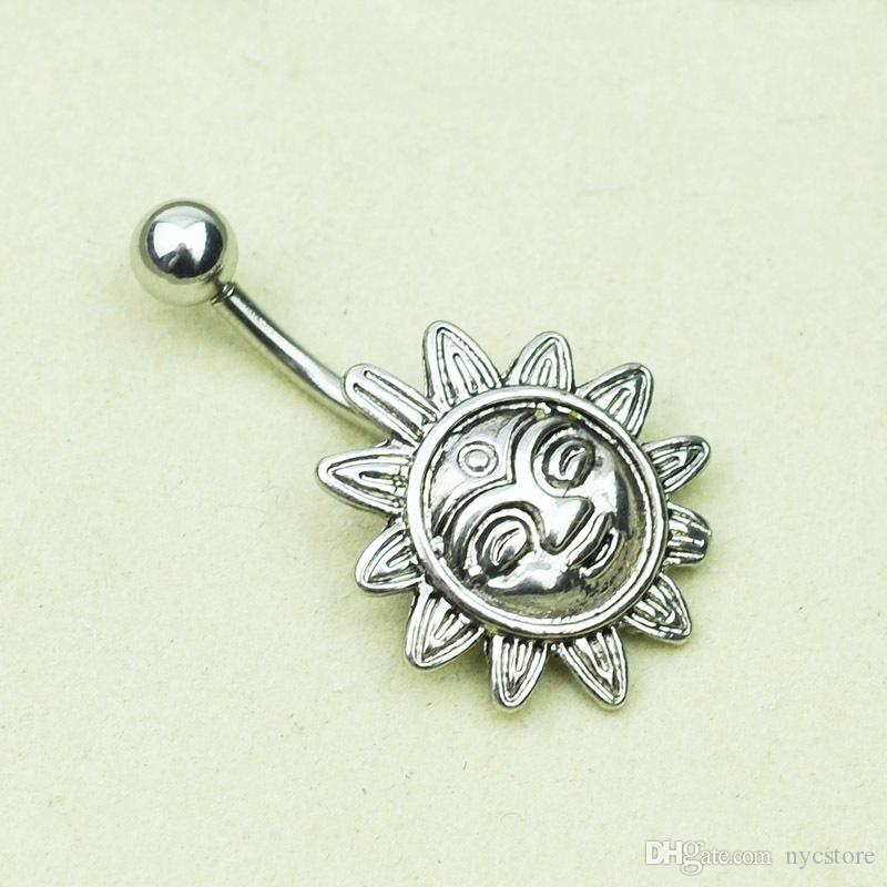 New Arrival Sunflower Smile Face Belly Button Navel Bar Ring Barbell Body Piercing Jewelry