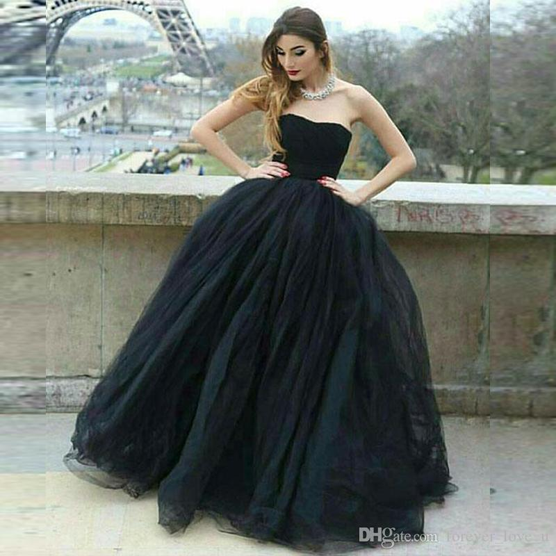 192e75f6285788 Fit And Flare Black Tulle Prom Dresses Strapless Sleeveless Puffy Skirt  Floor Length Evening Party Gowns Cheap Custom Made High Quality Short Lace  Dress ...