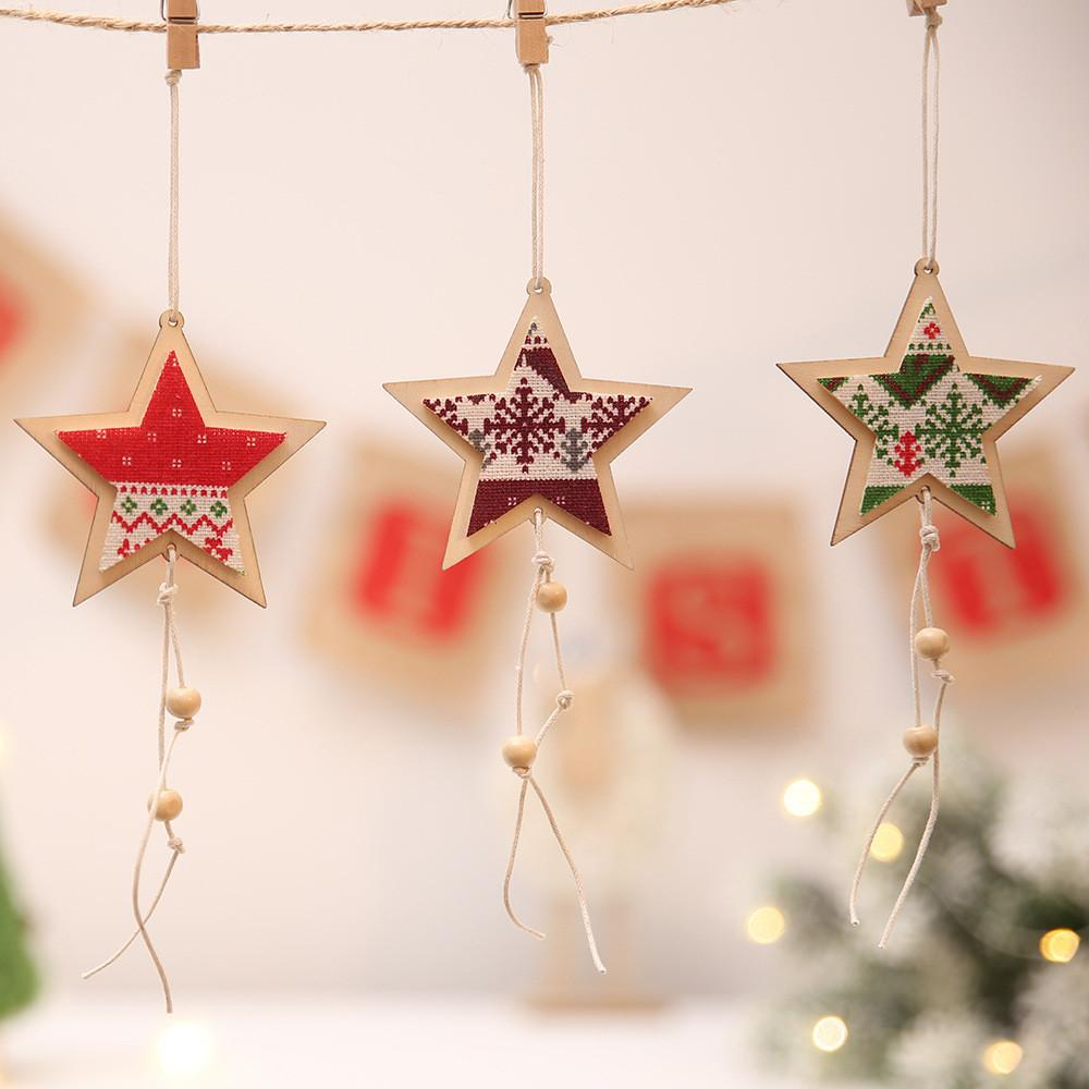 Hot Selling Christmas Decoration Wooden Five Pointed Star Pendant ...
