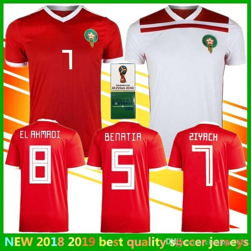 1f49c1e0029 2018 world cup Morocco ZIYACH Soccer Jersey national team Home away third  green white red EL AHMADI BELHANDA WHITE Maroc football shirt