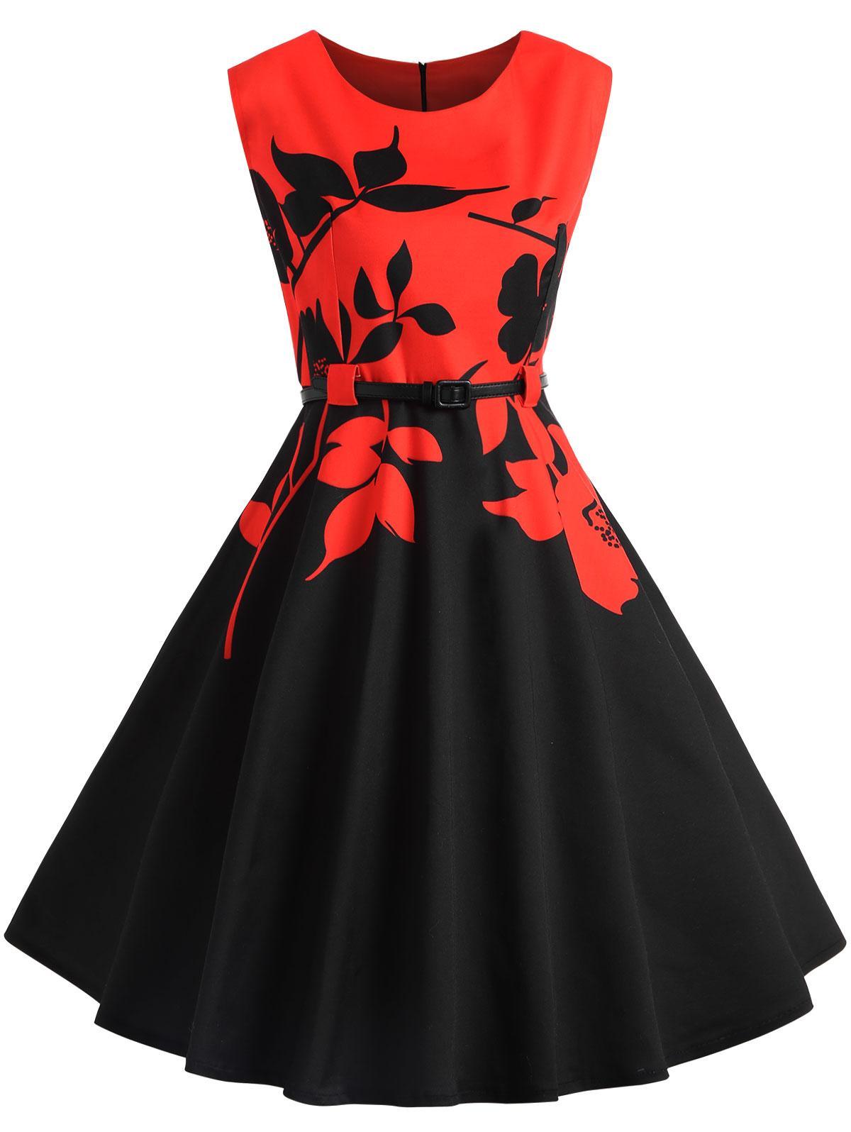 2018 Zaful Plus Size Vintage Dress Women Color Block Belted Floral ...