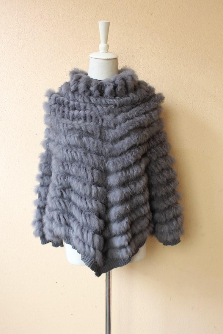 2018 nuove donne di modo genuino poncho di pelliccia di coniglio lavorato a maglia con manica girocollo grande formato pashmina mantelle e scialli femme