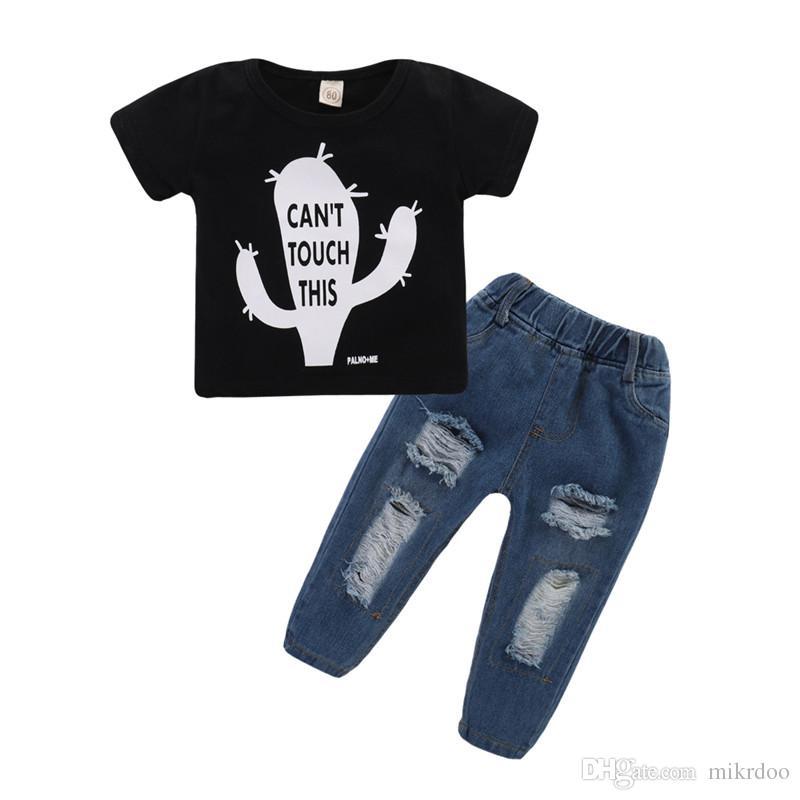 8f8f6f2ece07b Acheter Mikrdoo Enfants Bébé Garçon Vêtements Set Noir À Manches Courtes  Impression T Shirt Top + Trous Ripped Jean Pantalon D été Mode Outfit De   15.46 Du ...