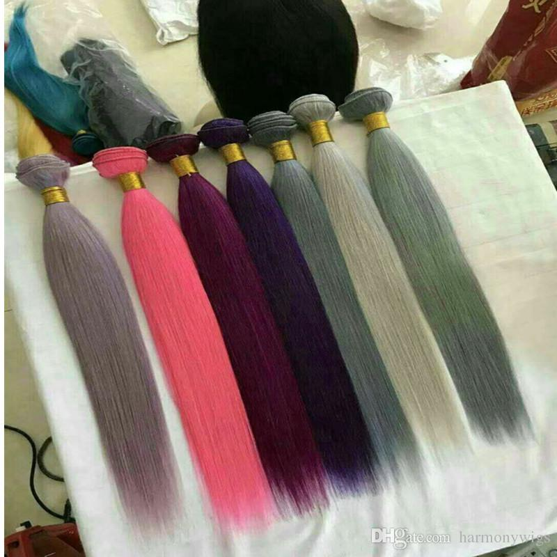 Mink Virgin Human Hair Weaves Brazilian Hair Bundles Straight Weft Customized Colorfull Human Hair Extensions Bulk Orde rWholesale