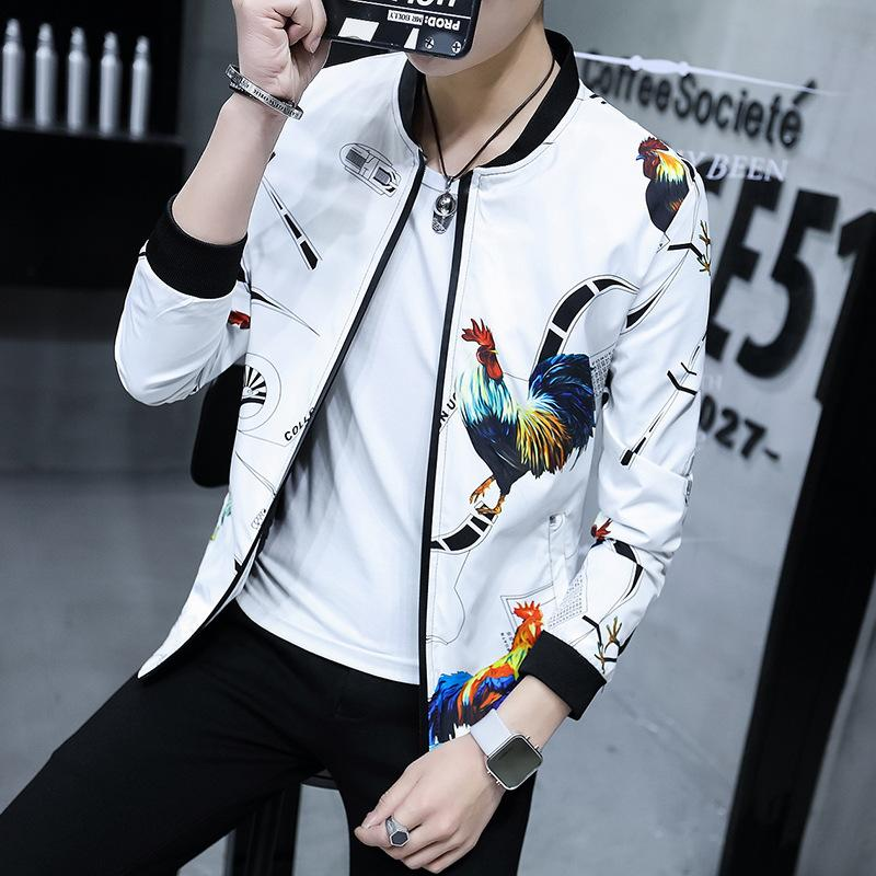 8547b84c6 2018 Spring Autumn Bomber Jacket Men Floral Printed Fashion Slim Fit Mens  Casual Jackets Long Sleeve Mens Windbreaker Coat Male Hooded Jackets  Jackets Sale ...