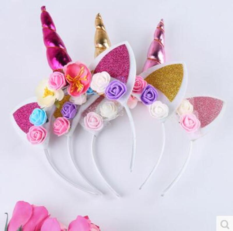 INS Unicorn Horn Hairband Headwear Paillette Head bands Kids Infants sequined Hair Clasps crowns Bonus Hairbands for Halloween Xmas Cosplay