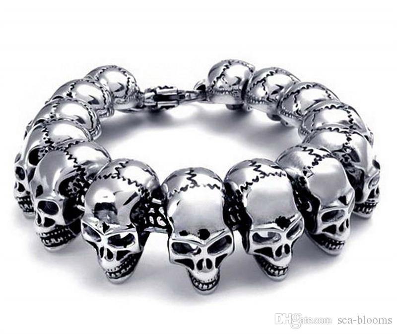 Mens Stainless Steel Large Skull Link Bracelet Biker Gothic Style Silver High Polished Wristlet Jewelry Support FBA Drop Shipping G822R