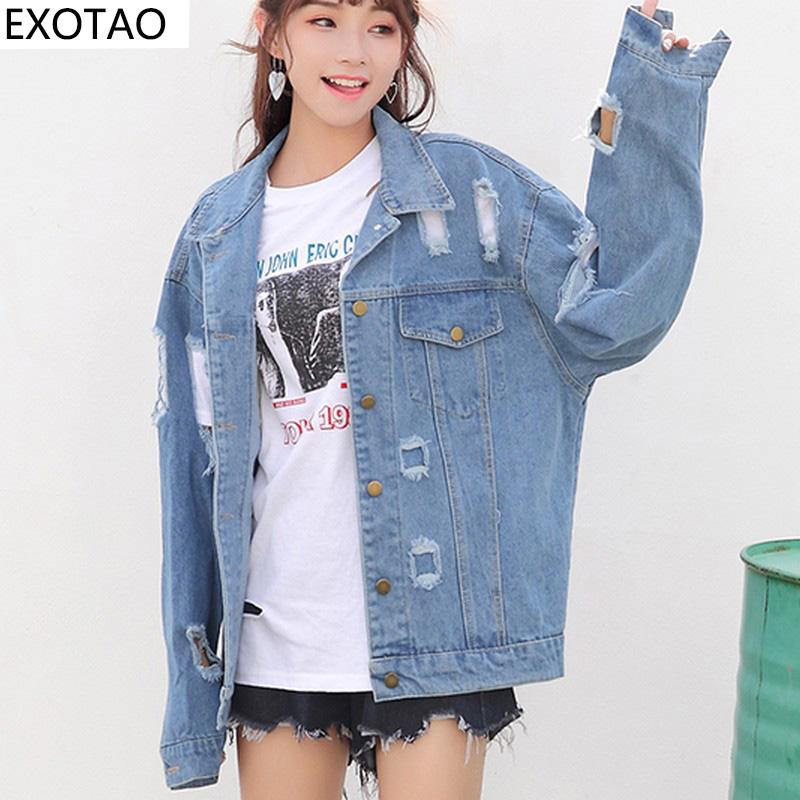 price remains stable buying now newest EXOTAO Oversized Ripped Denim Jackets Women Denim Holes Autumn Jeans  Jaqueta Batwing Sleeve BF Wind Coat Female Hot Chaquetas